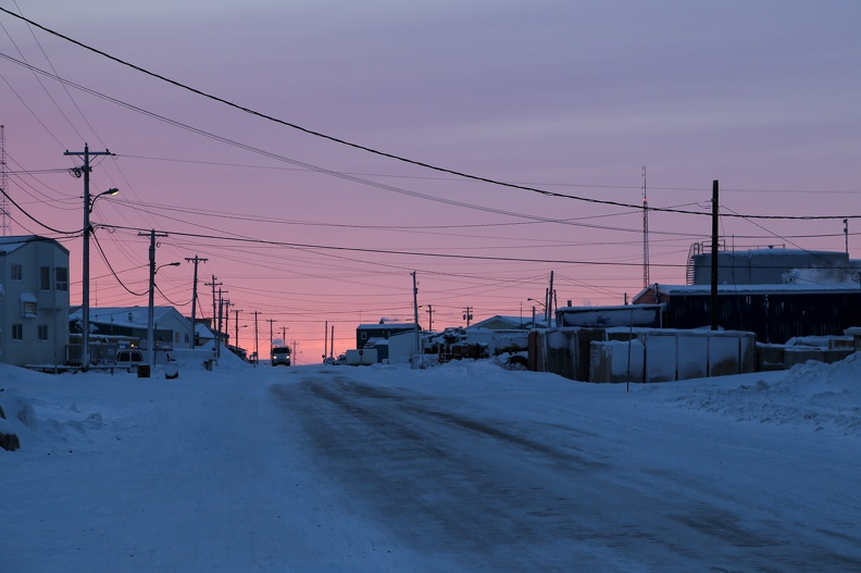 Street at dusk, Cambridge Bay, Nunavut,  March 2013_Donald McLennan, POLAR.jpg