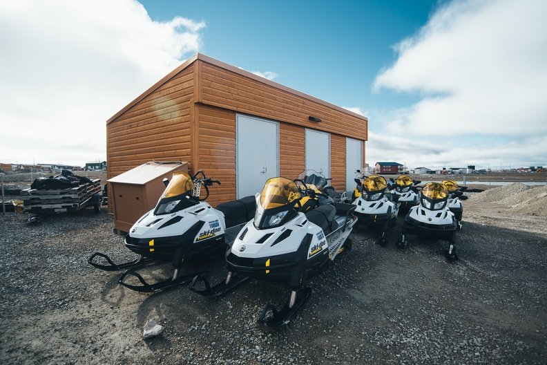 Snowmobiles at the CHARS campus, Cambridge Bay, August 2017_credit Natta Summerky.jpg